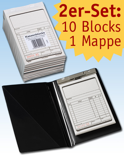 2er-Set: 10 Kassenblocks D36/02 + 1 Blockmappe