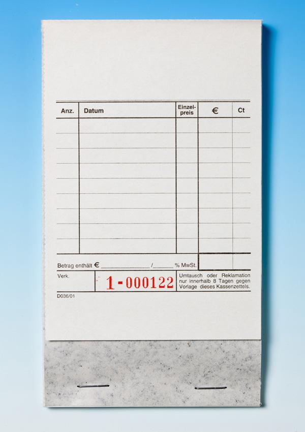100 Kassenblocks D036/01, Fußheftung