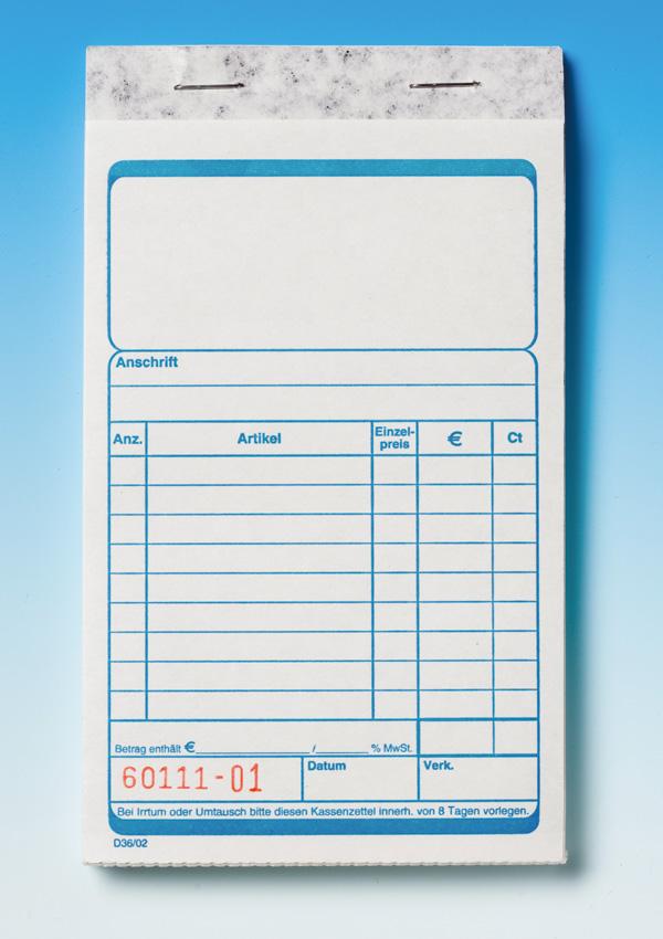 100 Kassenblocks D36/02 Neuauflage »blau«